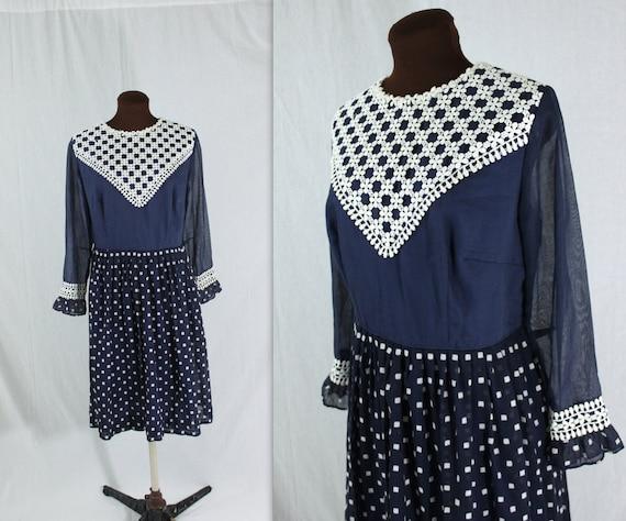 1960s Dress / Pleat Waist Dress / Navy Dress (l-xl)