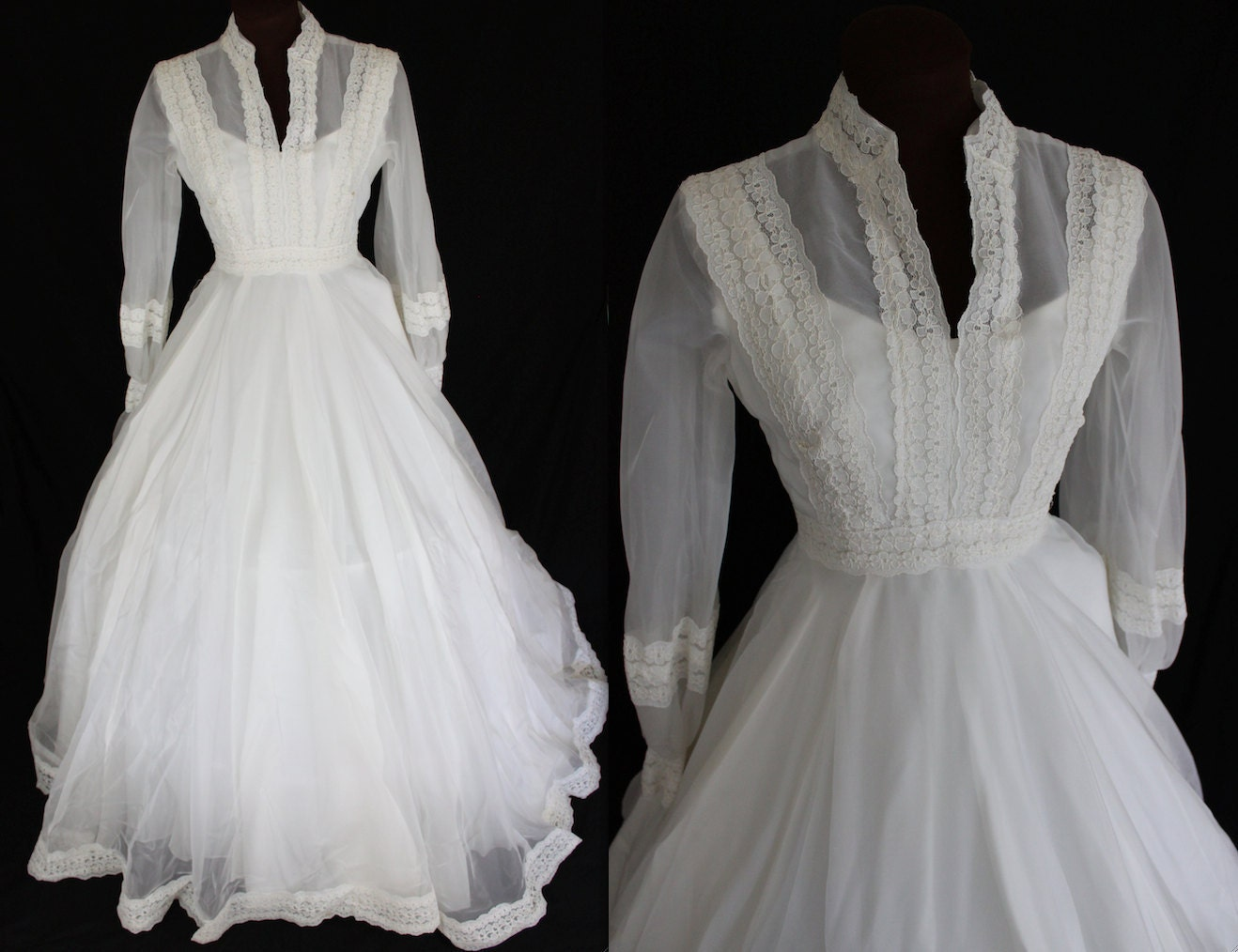 Wedding Dresses: 1960s Wedding Dress / Ivory Wedding Gown / Boho Wedding Dress