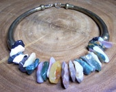 Agate & Brass Choker Ethnic Style Unsigned