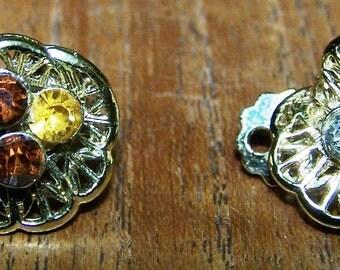 Amber, Citrine, Clear Rhinestone Filigree Clip Earrings