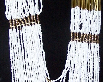 27 Strand White Seed Bead & Gold Bugle Bead Runway Necklace
