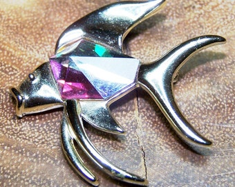 AB Crystal Fish Brooch Signed Sarah Coventry