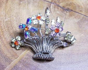 Silver Wire Metal Rhinestone Flower Basket Unsigned