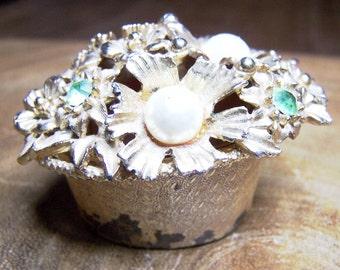 Decorative Oval Shaped Mini Pill Ring Box Signed Florenza