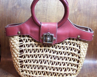 Vintage Straw Bag Burgundy Leather Handle  Signed Etienne Aigner