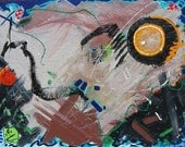 Abstract painting with chaos language sun and moon