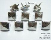 8mm Pyramid Studs SILVER (100pcs)