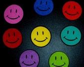 SALE! 14 Pc Retro Smiley Face Smiles No Sew Iron On Appliques Cotton Patches