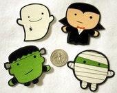 Set of 4 Halloween Monsters No Sew Iron On Appliques Vampire Mummy Skull Ghost Frankenstein