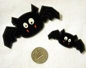 Set of 2 Bats Halloween No Sew Iron On Appliques
