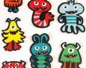 7 Piece Monsters Alien Bug No Sew Iron On Appliques Cotton Patches Retro