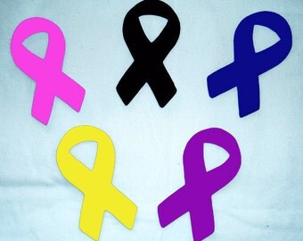 SALE! One Cancer Awareness Cure Ribbon No Sew Iron On Appliques Cotton Patches