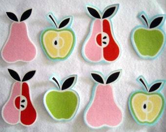 4 Apples and Pears Fruit No Sew Iron On Appliques Cotton Patches Retro