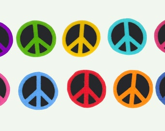 20 Pc Retro Peace Signs No Sew Iron On Appliques Cotton Patches