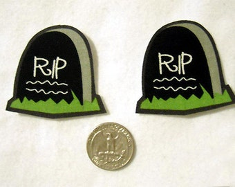 Set of 2 Tombstone Cemetery Graveyard Halloween No Sew Iron On Appliques