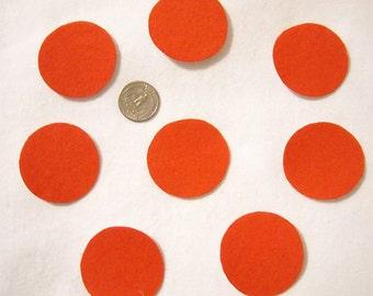 8 Dark Orange Polka Dot Circles No Sew Iron On Appliques Cotton Flannel Patches Retro