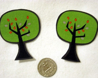SALE! Set of 2 Spooky Trees Halloween No Sew Iron On Appliques