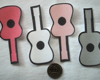 SALE! 16 Pink Gray Guitars Girls No Sew Iron On Appliques Cotton Patches Retro