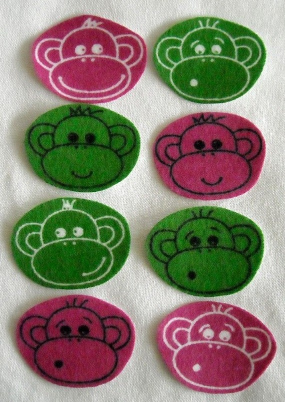 SALE! 8 Pink and Green Monkey Faces No Sew Iron On Appliques Cotton Flannel Patches