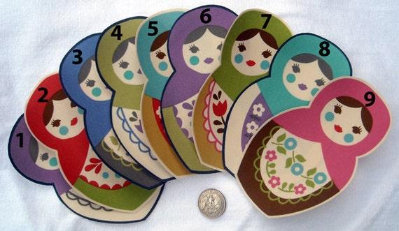 Pick Any 3 Matryoshka Russian Babushka Nesting Dolls No Sew Iron On Appliques Cotton Patches Retro