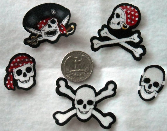 SALE! 5 Pc Retro Pirate Skulls Crossbones No Sew Iron On Appliques Cotton Patches