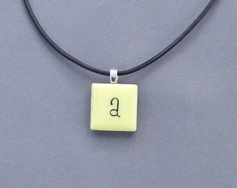 Initial a, c, e, ,f or g  Yellow Tile Leather Necklace