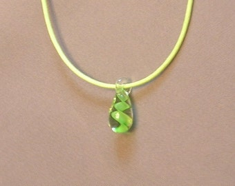 Green Swirl Glass Pendant Necklace