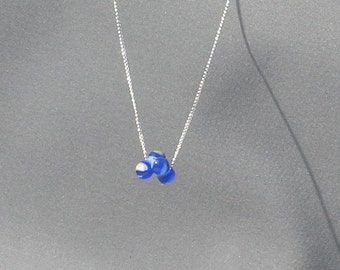 Blue Oblong Beads Necklace