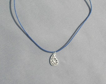 Small Paisley pendant on Navy Cotton cord Necklace