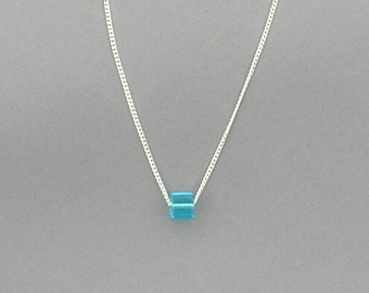 Turquoise Blue Glass Cube Bead Necklace