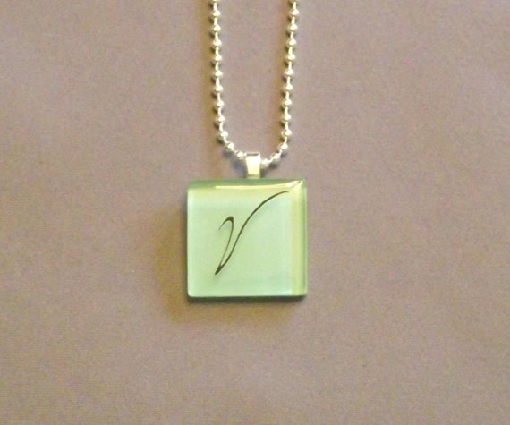 Lt. Teal  Mosaic Tile Initial V Necklace