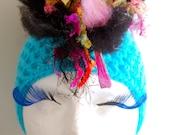 Turquoise Multicolor Crochet Mohawk Glam Punk Alternative Scene Beanie Hat