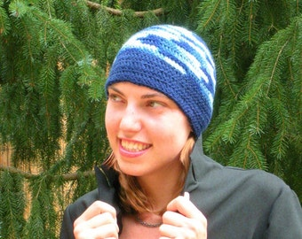 Beanie Hat Crochet in Big Band Ocean Waves and Navy Blue