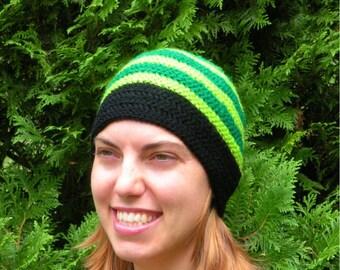 Ski Snowboarding Beanie Hat Crochet in Double Greens and Big Band Black