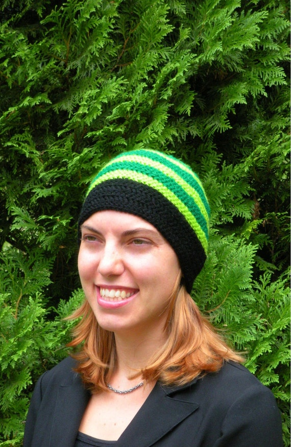 Ski Snowboarding Beanie Hat Crochet in Double Greens and Big Band Black