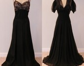 1930s 30s Black Silk Chiffon Floral Net Lace Full Length Bias Cut 2-Piece Evening Gown, Plunging Sweetheart Bodice, Art Deco, Old Hollywood