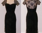 RESERVED LISTING for CRYSTAL 1950s Black Scalloped Floral Net Lace Sweetheart Illusion Formal Cocktail Wiggle Dress, Luis Estevez