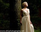 Vintage 1960s Boho Dress, 60s Wedding Dress, Pink and White Lace Maxi Dress, Womens XS Dress