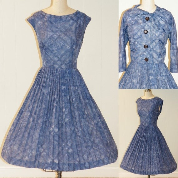 Vintage 50s Day Dress Cropped Bolero Jacket Set, Blue Cotton Abstract Check Print, Full Accordion Pleated Skirt, Bombshell Chic, Large