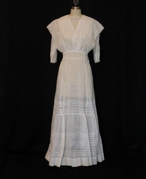 Antique Vintage Edwardian Dress 1900s 1910s White Lace Cotton