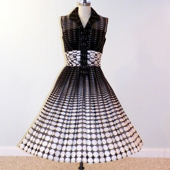 1950s Dress 50s Dress, Black and White Polka Dot Garden Party Sun Dress, Strapless Illusion Bust, Full Skirt, Rockabilly Chic