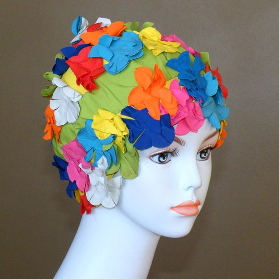 1950s 60s Swim Cap, Bright Floral Flowers Bathing Cap, Brit Marine England
