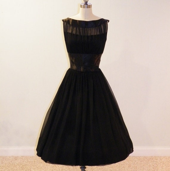 1950s 50s Dress, Black Silk Chiffon & Satin Illusion Formal Cocktail Wedding Party Dress, Bow Accent, Full Skirt, Bombshell Chic