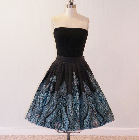 1950s Circle Skirt, Black Turquoise & Pink Fleur-De-Lis Floral Medallion Print Pleated Swing Skirt, 50s Cotton Circle Skirt