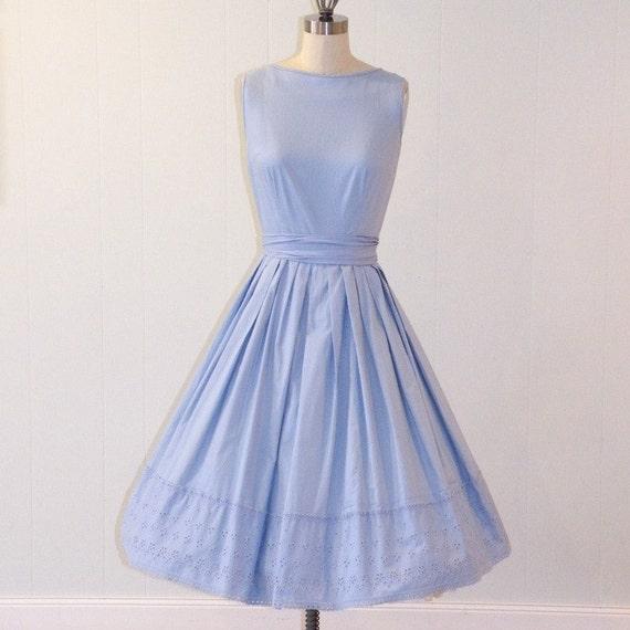 1950s Dress / 1960s Dress, Bobbie Brooks Periwinkle Blue Cotton Sun Dress, Waist Sash, Pleated Full Skirt, Eyelet Embroidery