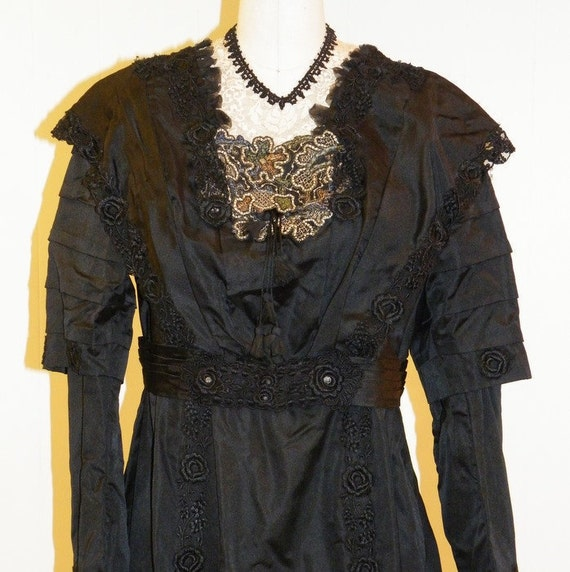 LAYAWAY Edwardian 1900s 1910s Dress, Antique Black Silk Mourning Dress & Hat, Rose Embroidery Net Lace Embroidered Panel, Museum Quality