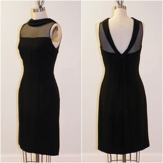 1950s Dress 60s Dress, Fitted Black Rayon Crepe Illusion Cocktail Wiggle Party Dress, Plunging Open Back, Little Black Dress