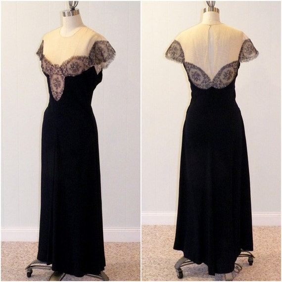 1940s Dress, 40s Rayon Dress, Dark Blue Floral Net Lace Illusion Formal Cocktail Wedding Party Evening Dress, Plunging Back Old Hollywood