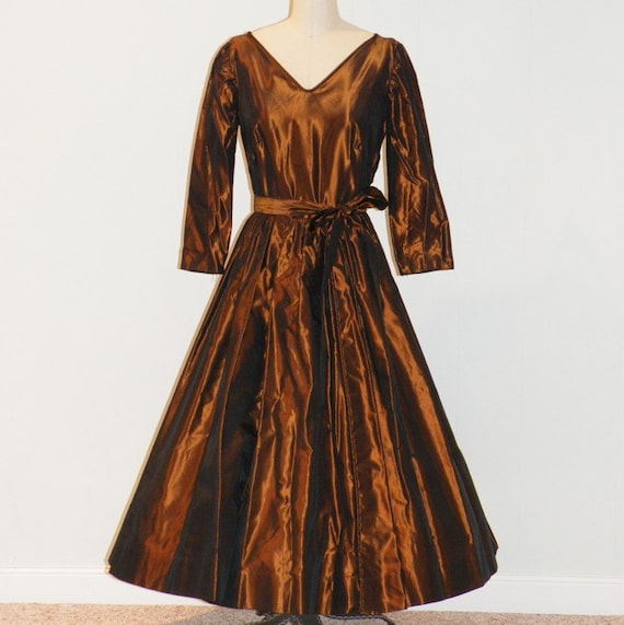 1950s Party Dress, 50s Copper Taffeta Formal Cocktail Dress, Vintage Full Skirted Dress, Mad Men Small