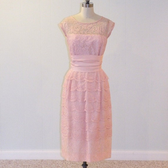 1950s Dress / 50s Pink Dress, Floral Lace Illusion Cocktail Party Wiggle Dress, Scalloped Tiered Lace Shutter Skirt, Marcia Frocks NY Medium